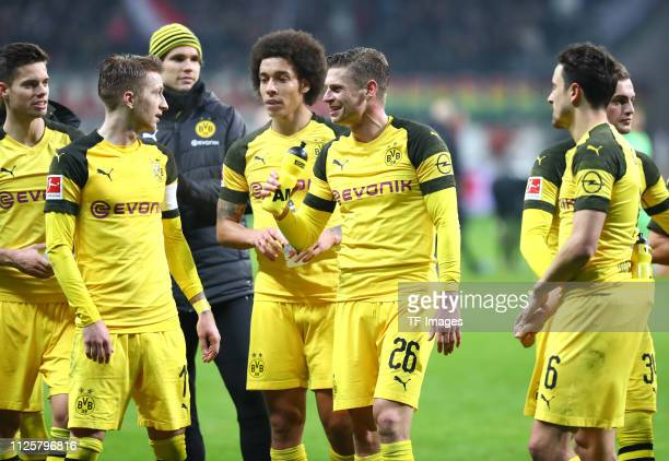 Julian Weigl of Borussia Dortmund Marco Reus of Borussia Dortmund goalkeeper Marwin Hitz of Borussia Dortmund Axel Witsel of Borussia Dortmund Lukasz...