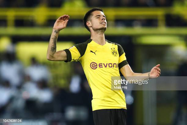 Julian Weigl of Borussia Dortmund reacts during the Bundesliga match between Borussia Dortmund and 1 FC Nuernberg at Signal Iduna Park on September...