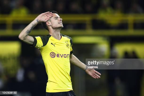 Julian Weigl of Borussia Dortmund reacts during the Bundesliga match between Borussia Dortmund and 1 FC Nuernberg at Signal Iduna Park on September...