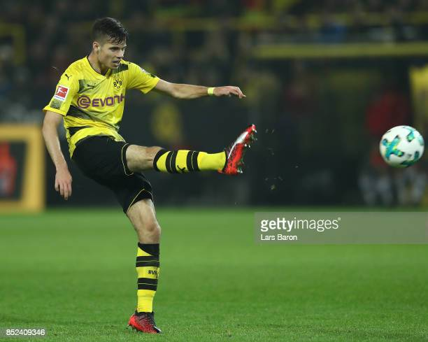 Julian Weigl of Dortmund about to score his teams sixth goal to make it 6:1 during the Bundesliga match between Borussia Dortmund and Borussia...
