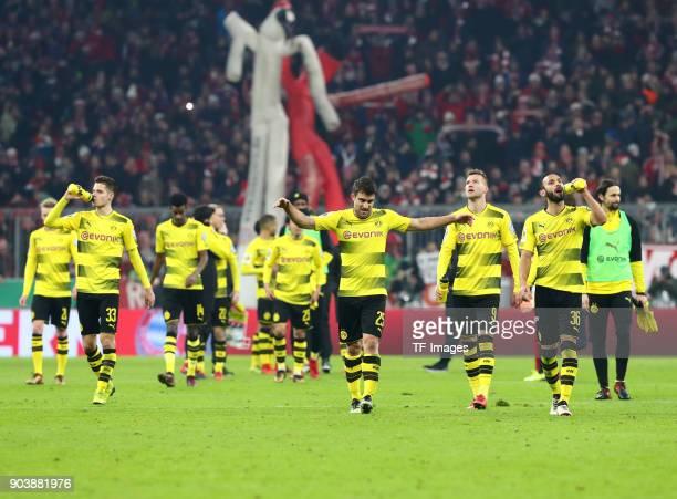 Julian Weigl of Dortmund Alexander Isak of Dortmund Sokratis Papastathopoulos of Dortmund Andrey Yarmolenko of Dortmund Oemer Toprak of Dortmund and...