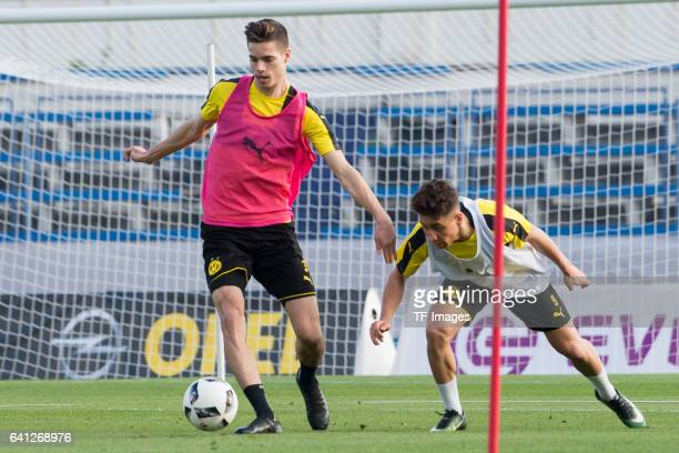 Julian Weigl of Dortmund and Emre Mor of Dortmund battle for the ball during the fifth day of the training camp in Marbella on January 09 2017 in...