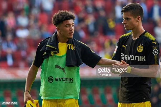 Julian Weigl of Dortmund and PierreEmerick Aubameyang of Dortmund looks on during the Bundesliga match between FC Augsburg and Borussia Dortmund at...