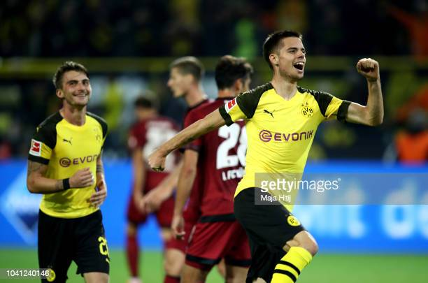 Julian Weigl of Dortmund celebrates after he scores the 7th goal during the Bundesliga match between Borussia Dortmund and 1 FC Nuernberg at Signal...