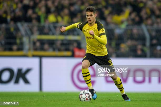 Julian Weigl of Dortmund controls the ball during the Bundesliga match between Borussia Dortmund and Hannover 96 at the Signal Iduna Park on January...