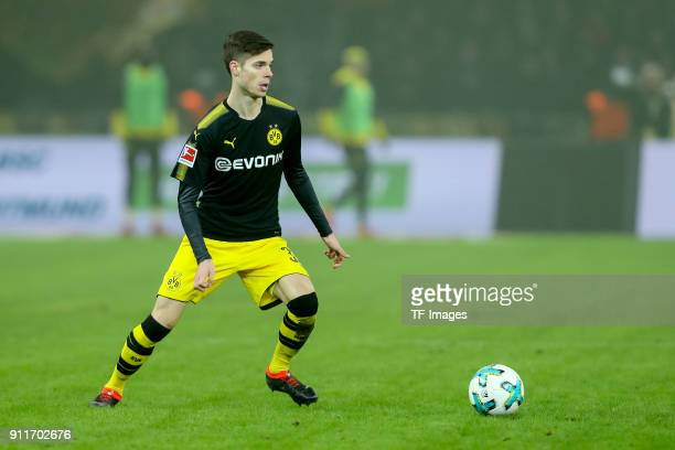 Julian Weigl of Dortmund controls the ball during the Bundesliga match between Hertha BSC and Borussia Dortmund at Olympiastadion on January 19 2018...