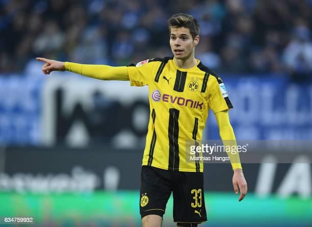 Julian Weigl of Dortmund gestures during the Bundesliga match between SV Darmstadt 98 and Borussia Dortmund at Stadion am Boellenfalltor on February...