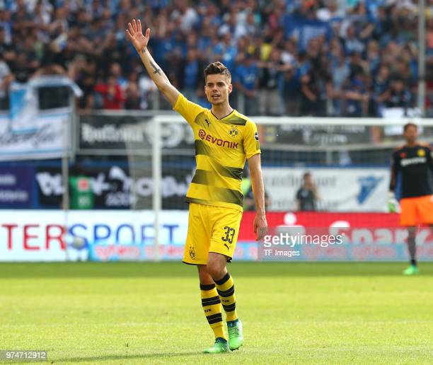 Julian Weigl of Dortmund gestures during the Bundesliga match between TSG 1899 Hoffenheim and Borussia Dortmund at Wirsol RheinNeckarArena on May 12...