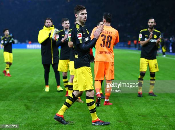 Julian Weigl of Dortmund looks dejected after the Bundesliga match between Hertha BSC and Borussia Dortmund at Olympiastadion on January 19 2018 in...