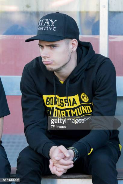 Julian Weigl of Dortmund looks on during a friendly match between Espanyol Barcelona and Borussia Dortmund as part of the training camp on July 28...
