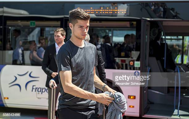 Julian Weigl of Germany is seen during the German national team departure to France at Frankfurt International Airport on June 7 2016 in Frankfurt am...