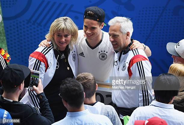 Julian Weigl of Germany poses for photographs prior to the UEFA EURO 2016 round of 16 match between Germany and Slovakia at Stade PierreMauroy on...