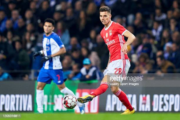 Julian Weigl of SL Benfica in action during the Liga Nos match between FC Porto and SL Benfica at Estadio do Dragao on February 08 2020 in Porto...