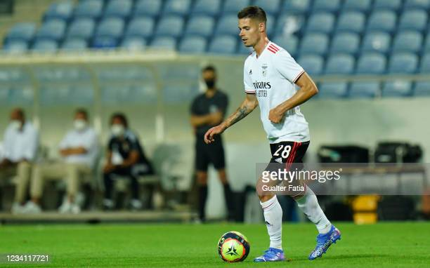 Julian Weigl of SL Benfica in action during the Pre-Season Friendly match between SL Benfica and Lille at Estadio Algarve on July 22, 2021 in Loule,...