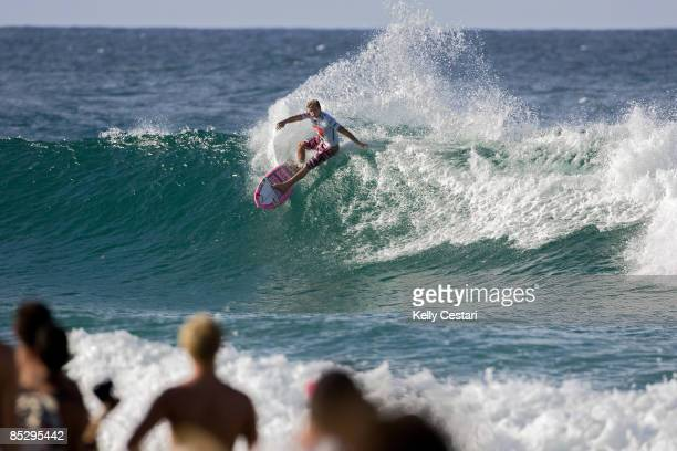 Julian Wilson of Australia cuts back into the pocket on a wave during Round 3 of the Quiksilver Pro Gold Coast presented by LG Mobile on March 08,...