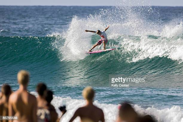 Julian Wilson of Australia performs a forehand snap on a wave during Round 3 of the Quiksilver Pro Gold Coast presented by LG Mobile on March 08,...