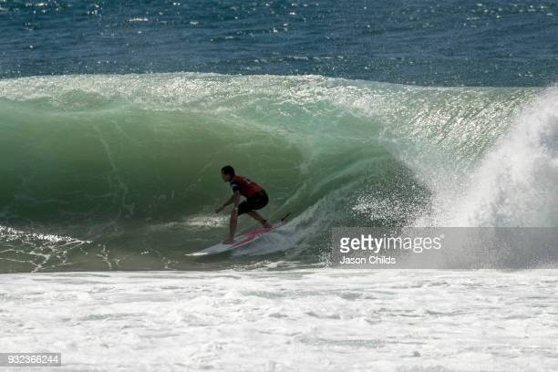 Julian Wilson riding in the tube on his way to claiming victory in extraordinary conditions at Kirra on the Gold Coast of Australia in the Quiksilver...