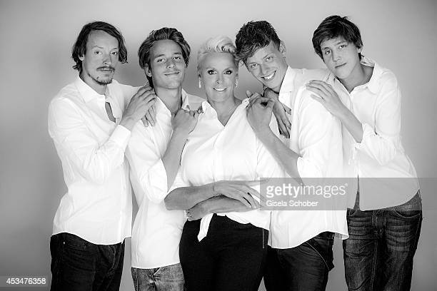 Julian Winding Douglas Aaron Meyer Brigitte Nielsen Kilian Marcus Nielsen Raoul Ayrton Meyer Jr pose during a Portrait Session on July 6 2014 in...