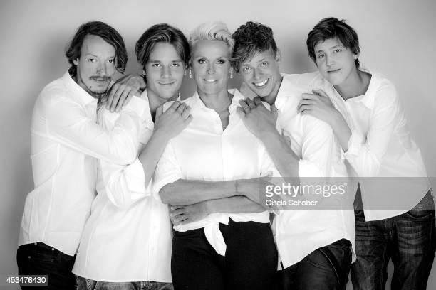 Julian Winding, Douglas Aaron Meyer, Brigitte Nielsen Kilian Marcus Nielsen, Raoul Ayrton Meyer Jr. Pose during a Portrait Session on July 6, 2014 in...