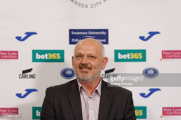 Julian Winter new CEO for Swansea City talks to reporters during a press conference at the Liberty Stadium on September 22 2020 in Swansea Wales