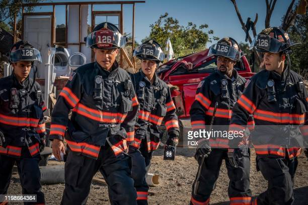 Julian Works Rob Lowe Natacha Karam Brian Michael Smith and Ronen Rubenstein in the Act of God episode of 911 LONE STAR airing Monday Feb 3 on FOX