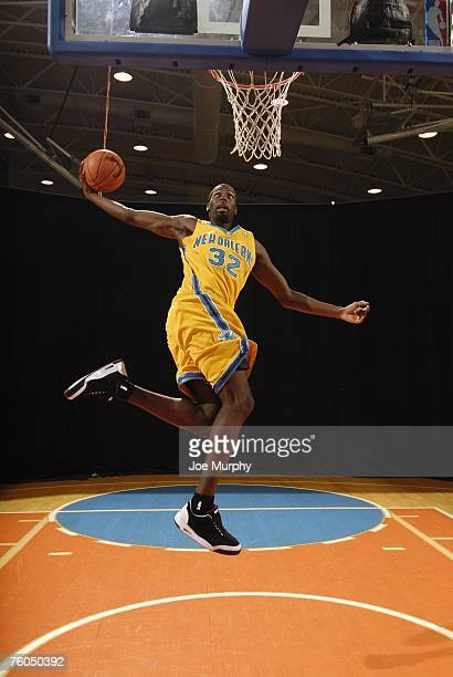 Julian Wright of the New Orleans Hornets poses for an action portrait during the 2007 NBA Rookie Photo Shoot on July 27, 2007 at the MSG Training...