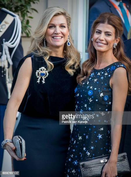 Juliana Awada say goodbye to Queen Maxima of The Netherlands after the ballet performance they offered to the Dutch Royals at theater Dilligentia on...