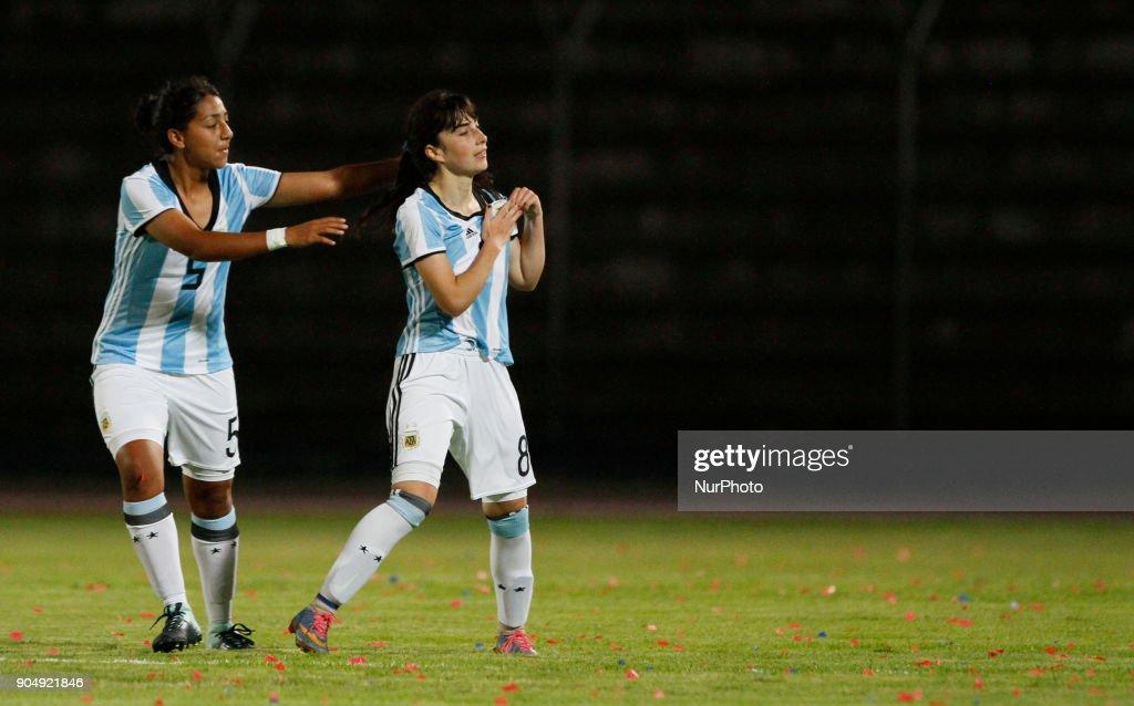 Juliana Berardo (right) celebrates the goal with her teammates during the match between Ecuador vs Argentina, played at the Fernando Guerrero Stadium by the Sudamericano female U20, in Riobamba, Ecuador, Saturday, January 13, 2018.