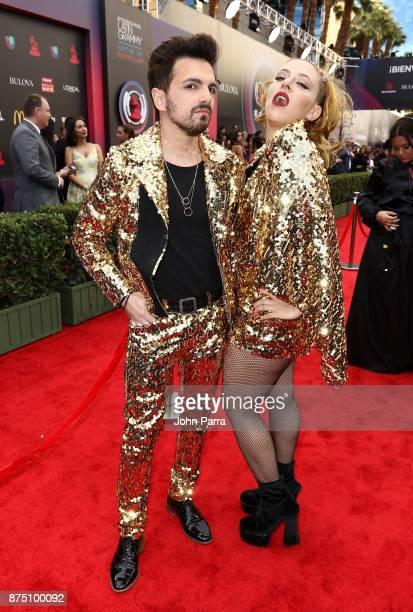 Juliana Gattas and Alejandro Sergi of Miranda attend the 18th Annual Latin Grammy Awards at MGM Grand Garden Arena on November 16 2017 in Las Vegas...