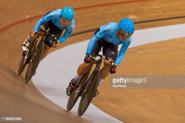 Juliana Gaviria and Martha Bayona Pineda of Colombia in action during the Women's Team Sprint Qualifying at the Sir Chris Hoy Velodrome on day one of...
