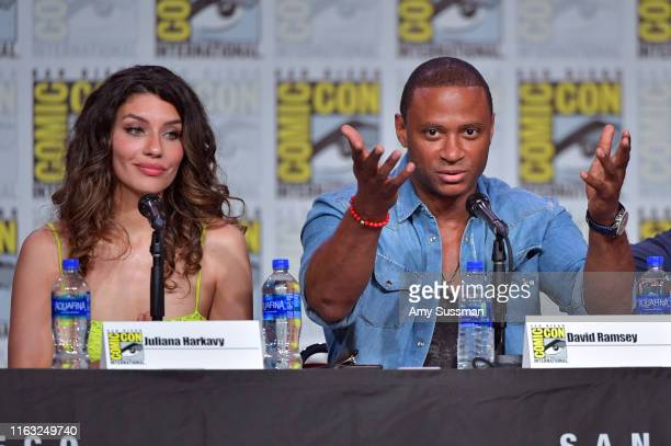 Juliana Harkavy and David Ramsey speak at the Arrow Special Video Presentation And QA during 2019 ComicCon International at San Diego Convention...