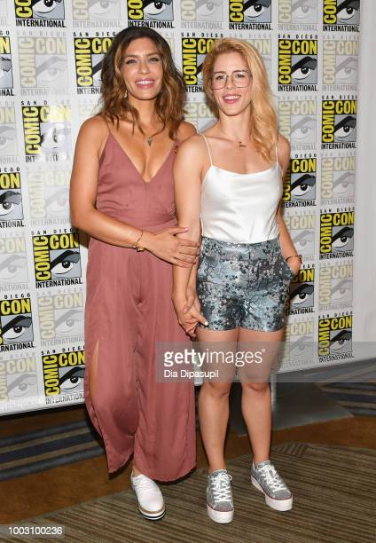 Juliana Harkavy and Emily Bett Rickards attend the 'Arrow' Press Line during ComicCon International 2018 at Hilton Bayfront on July 21 2018 in San...