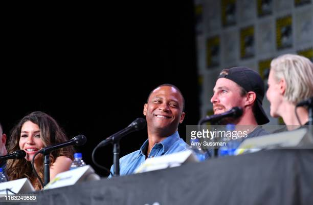 Juliana Harkavy David Ramsey Stephen Amell and Katie Cassidy speak at the Arrow Special Video Presentation And QA during 2019 ComicCon International...