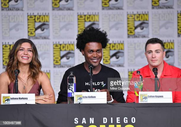 Juliana Harkavy Echo Kellum and Colton Haynes speak onstage at the Arrow Special Video Presentation and QA during ComicCon International 2018 at San...