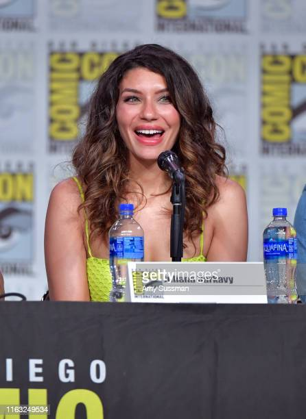 Juliana Harkavy speaks at the Arrow Special Video Presentation And QA during 2019 ComicCon International at San Diego Convention Center on July 20...