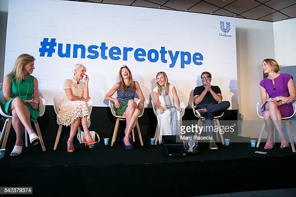 Juliana L Chugg Rosie Arnold actress Alysia Reiner Aline Santos director R Balki and journalist Lucy Hocking attend the Unilever's #unstereotype...