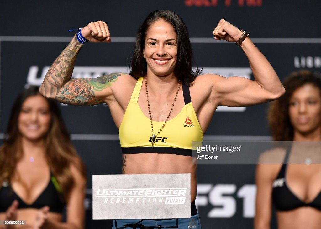 Juliana Lima of Brazil poses on the scale during the UFC weigh-in at the Park Theater on July 6, 2017 in Las Vegas, Nevada.