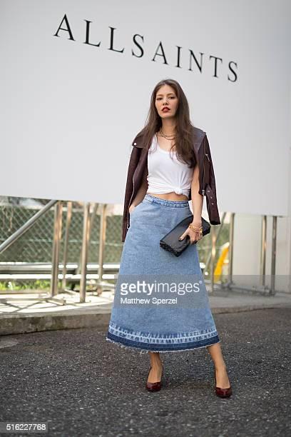 Juliana Minato model actress attends the Allsaints presentation during Tokyo Fashion Week wearing Allsaintson March 17 2016 in Tokyo Japan