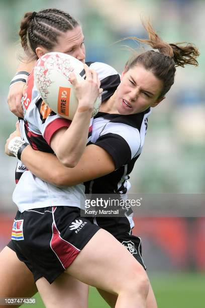 Krysten Cottrell of Hawke's Bay makes a break during the round four Farah Palmer Cup match between Hawke's Bay and North Harbour at McLean Park on...