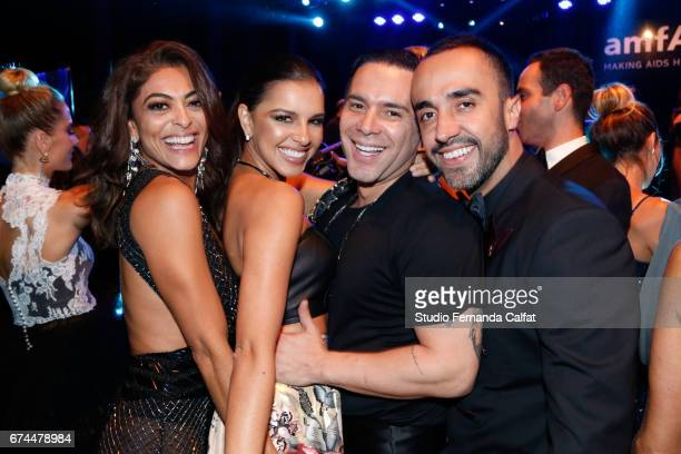 Juliana Paes Mariana Rios and Matheus Mazzafera attends the 7th Annual amfAR Inspiration Gala on April 27 2017 in Sao Paulo Brazil