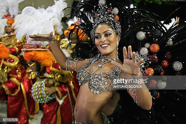 Juliana Paes Queen of the Drums of Viradouro samba school performs ahead of the band 07 February on the second evening of the carnival competition...