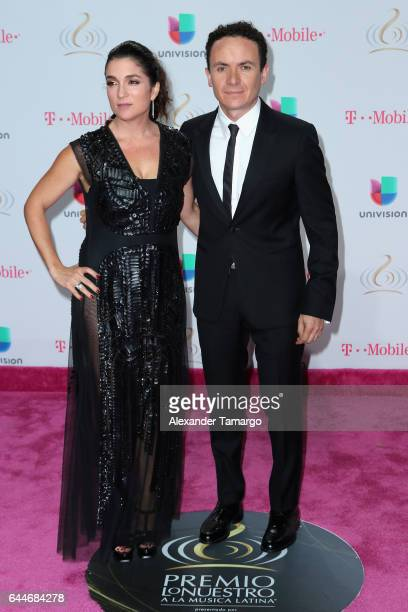 Juliana Posada and singer Fonseca attend Univision's 29th Edition of Premio Lo Nuestro A La Musica Latina at the American Airlines Arena on February...