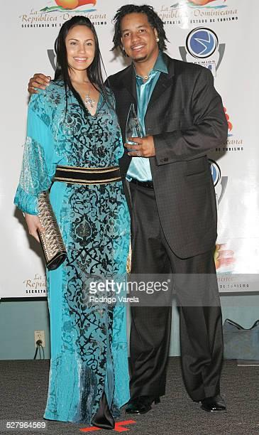 Juliana Ramirez and Manny Ramirez during Premios Fox Sports 2004 Awards Press Room at Jackie Gleason Theater in Miami Beach Florida United States