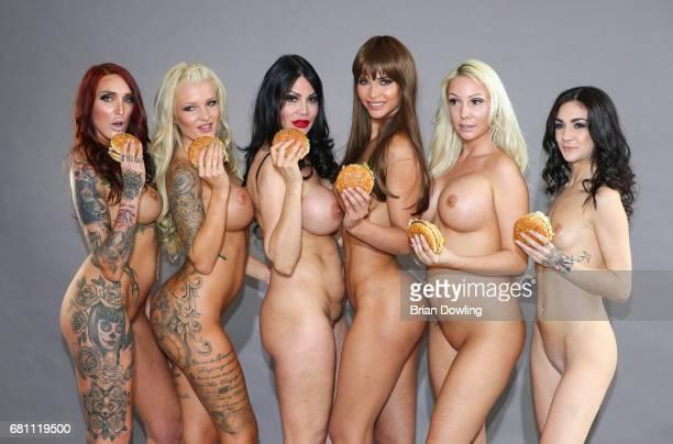 Juliana Raudies, Jacky Valentine, Micaela Schaefer, Djamila Rowe , Lullu Gun, and RoxxyX pose during a photo shoot for the calendar 'Foodporn' on May...