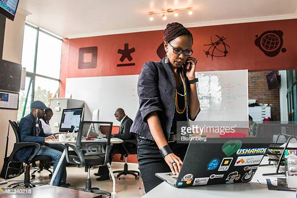 Juliana Rotich a trustee of iHub works on a laptop computer at the iHub technology innovation center in Nairobi Kenya on Thursday July 23 2015...