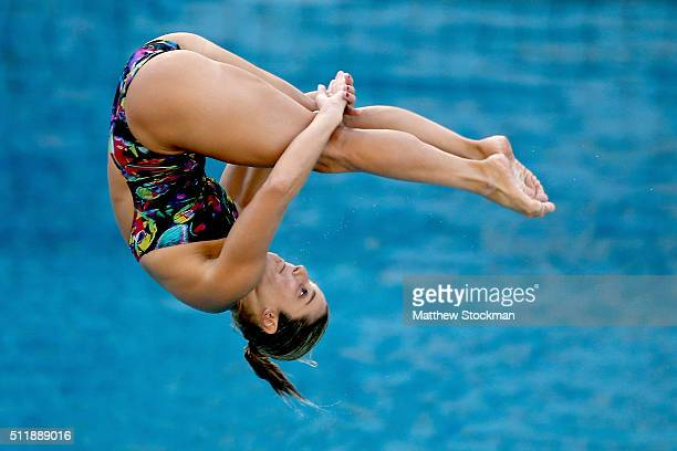 Juliana Veloso of Brazil competes in the semifinal of the women's 3m Springboard during the FINA Diving World Cup Aquece Rio Test Event for the Rio...