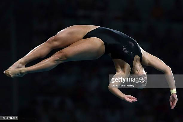 Juliana Veloso of Brazil competes in the Women's 10m Platform Preliminary diving event at the National Aquatics Centre during Day 12 of the Beijing...