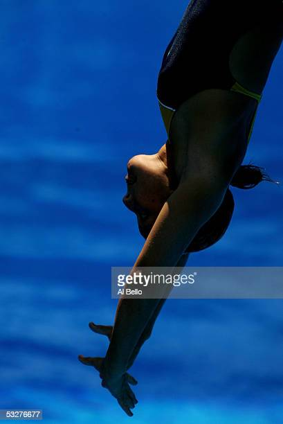 Juliana Veloso of Brazil competes in the Women's 3 meter Springboard preliminary during the XI FINA World Championships on July 22 2005 at the Parc...