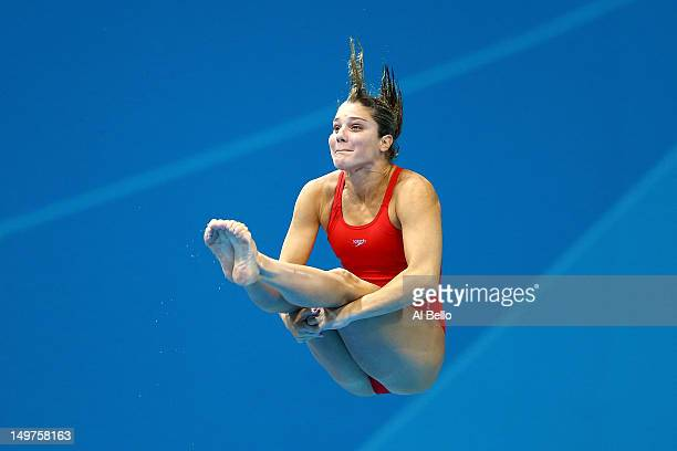 Juliana Veloso of Brazil competes in the Women's 3m Springboard Diving Preliminary Round on Day 7 of the London 2012 Olympic Games at the Aquatics...