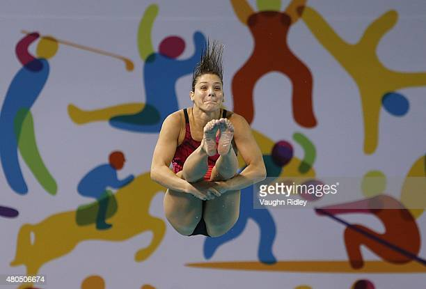 Juliana Veloso of Brazil competes in the Women's 3m Springboard Prelims during the Toronto 2015 Pan Am Games at the CIBC Aquatic Centre on July 12...